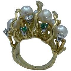 Unique Midcentury Caged Pearl, Emerald, Diamond 18 Karat Gold Textured Ring