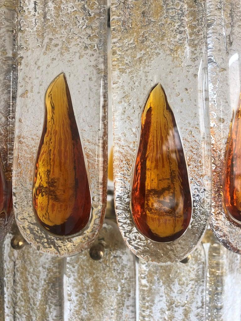 Unique Midcentury Italian Amber Murano Chandelier by Mazzega, 1970s For Sale 5