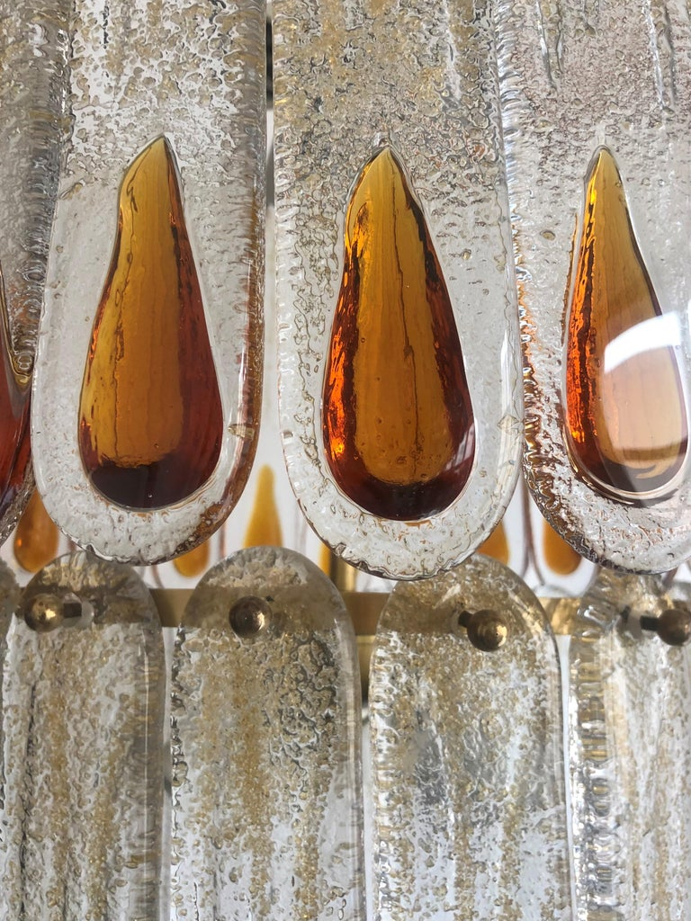 Unique Midcentury Italian Amber Murano Chandelier by Mazzega, 1970s For Sale 1