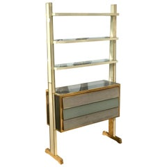 Unique Midcentury Italian Reverse Painted Glass and Brass Shelving Unit