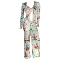 Unique Missoni Gold Metallic Crochet Knit Palm Jungle Leaf Ensemble as Jumpsuit