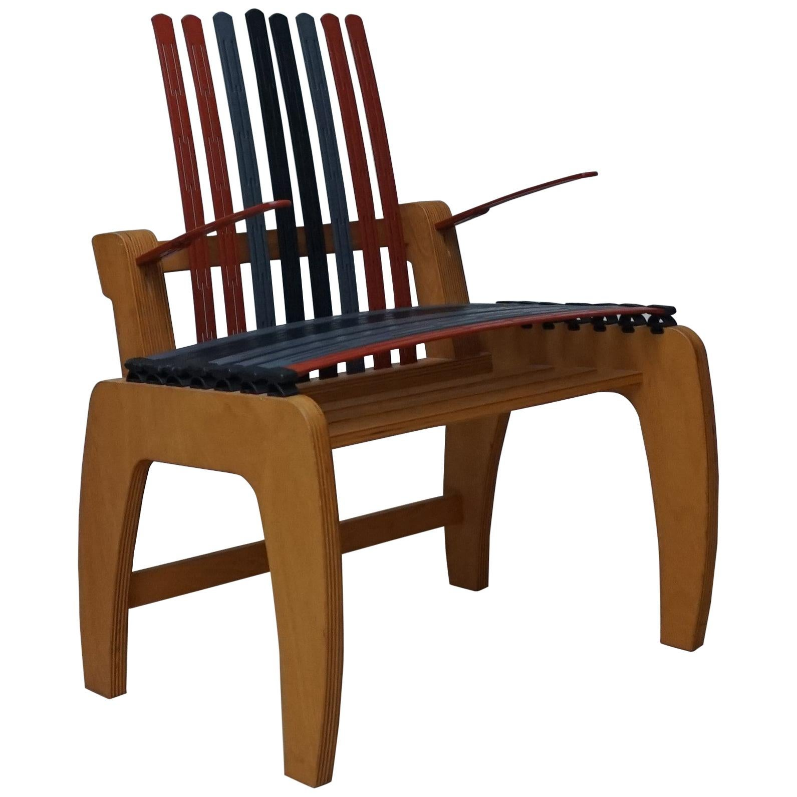 Unique, Modern Design or Concept Chair / Armchair Made of Plywood & Hard Plastic
