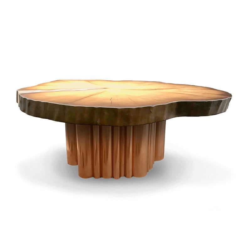 Unique Modern Round Coffee Table with Metal Inlay and Copper Legs Made to Order In New Condition For Sale In Riga, LV