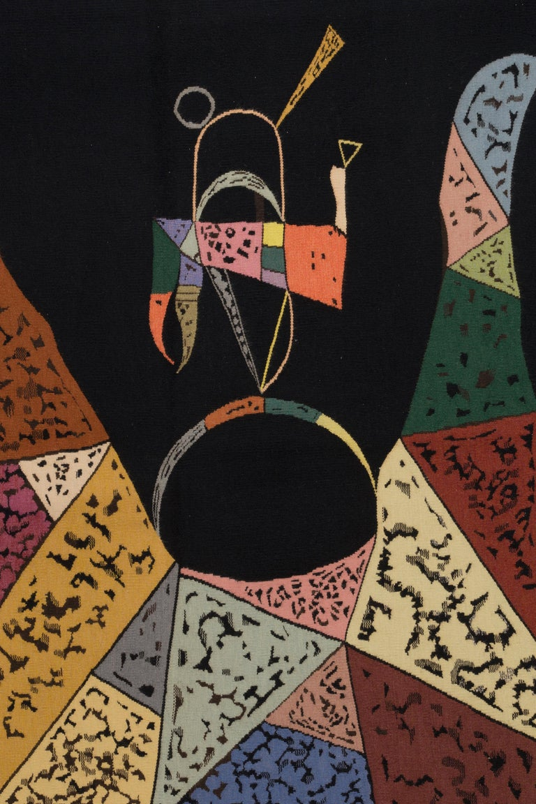 """Wassily Kandinsky (Russia, 1866 - 1944)  Sur Fond Noir Signed """"K"""" and dated""""40"""" Wool tapestry handwoven by Atelier Tabard, Aubusson Measures: H 260 x W 190 cm; H 102.4 x W 74.8 in, circa 1940.   The tapestry """"Sur Fond Noir"""" was created in"""