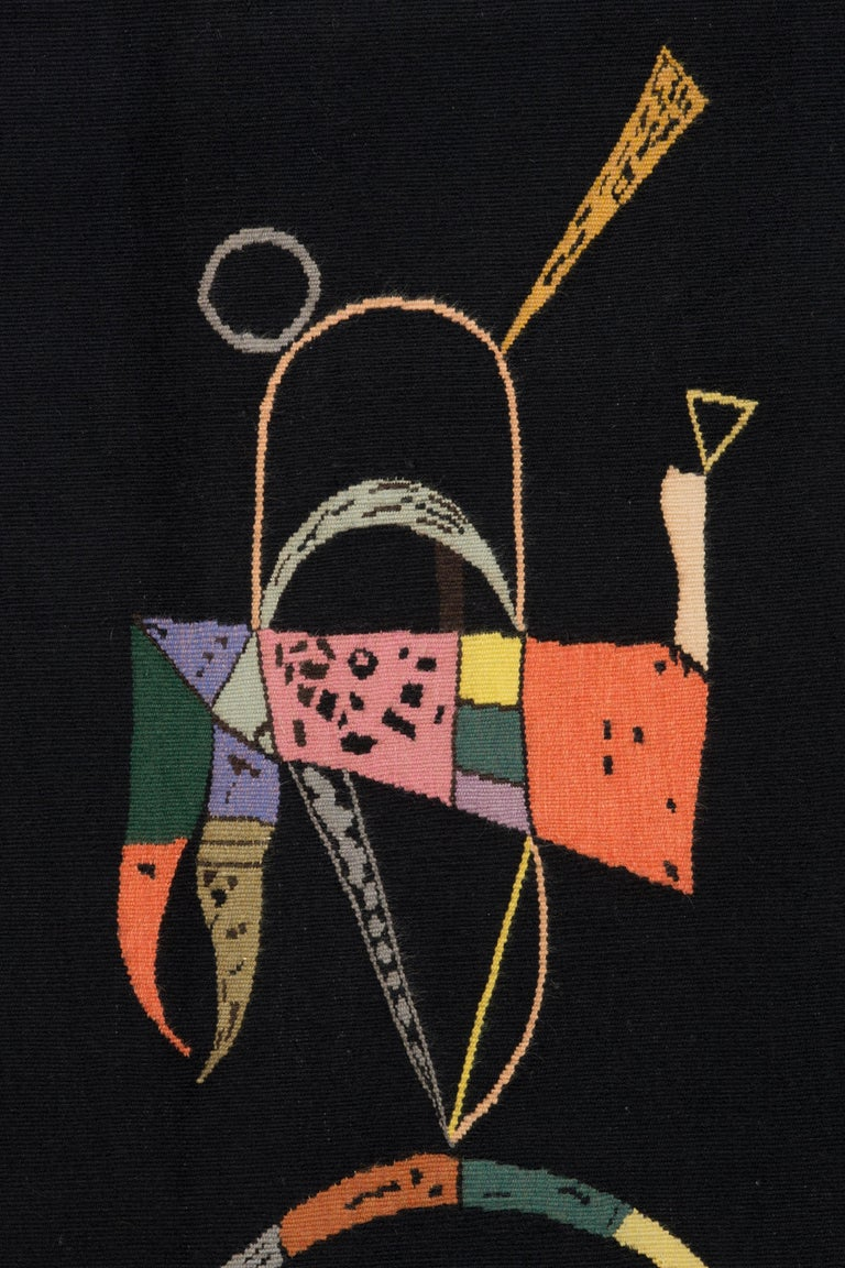 Hand-Woven Unique Modern Tapestry Designed by Wassily Kandinsky, Sur Fond Noir For Sale