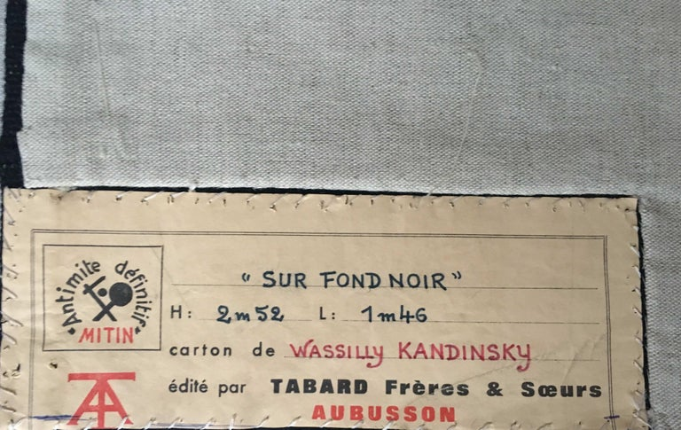 Wool Unique Modern Tapestry Designed by Wassily Kandinsky, Sur Fond Noir For Sale