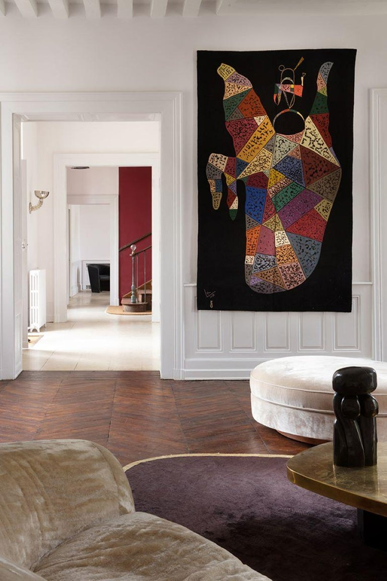 French Unique Modern Tapestry Designed by Wassily Kandinsky, Sur Fond Noir For Sale