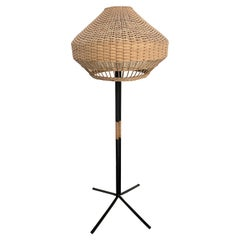 Unique  Modernist Iron and Wicker Floor Lamp, Hungary, 1950s