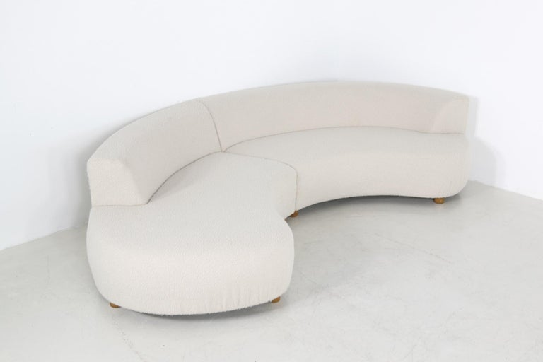 Unique Modular Curved Sofa with Teddy Fur Boucle and Pinewood Legs  For Sale 6