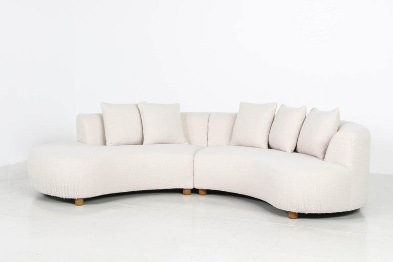 Unique Modular Curved Sofa with Teddy Fur Boucle and Pinewood Legs  For Sale 9
