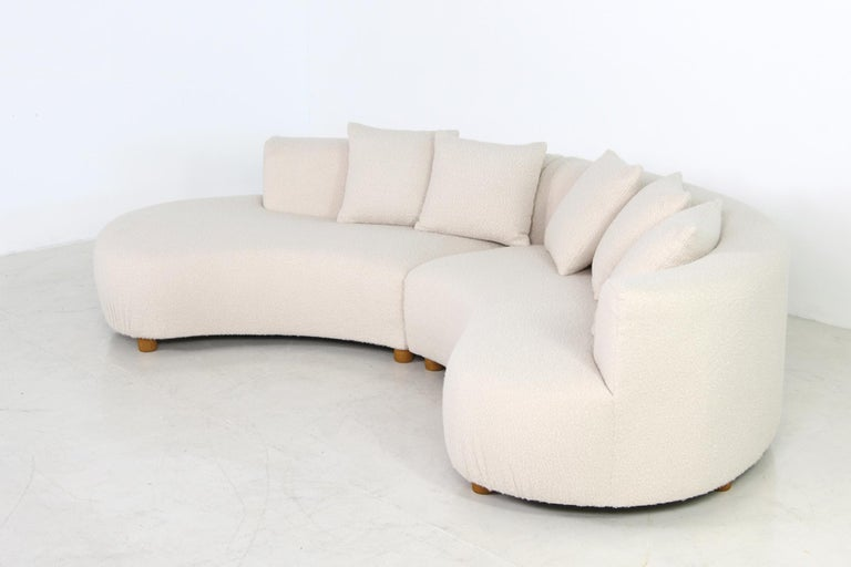 Unique Modular Curved Sofa with Teddy Fur Boucle and Pinewood Legs  For Sale 10