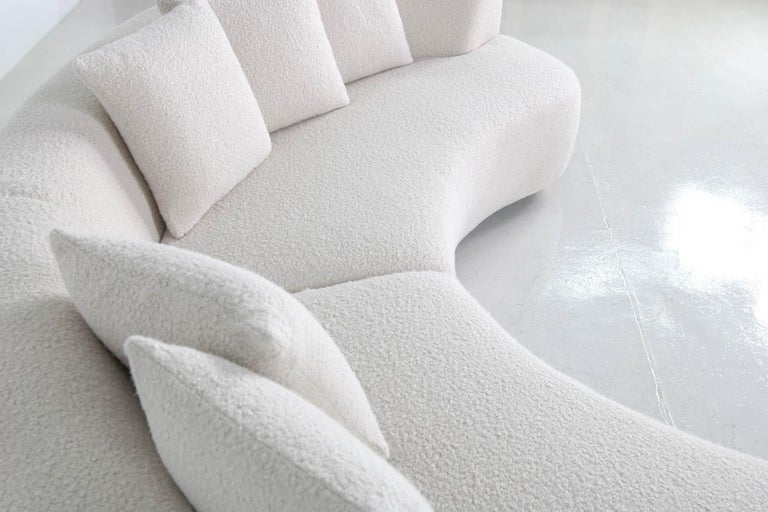 Modern Unique Modular Curved Sofa with Teddy Fur Boucle and Pinewood Legs  For Sale