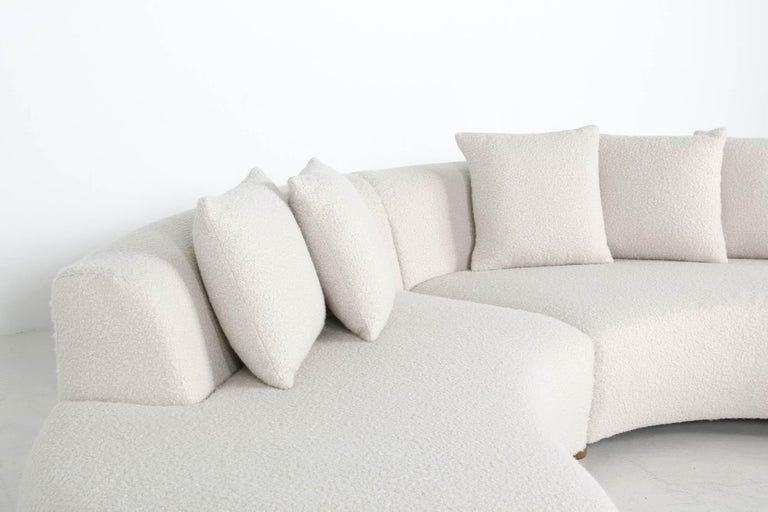 Unique Modular Curved Sofa with Teddy Fur Boucle and Pinewood Legs  For Sale 2