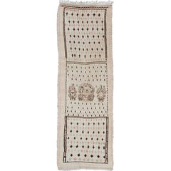 Unique Moroccan Runner in Light Ivory Background & Brown, Rose, Green Accents