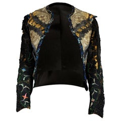 Unique  Mr Moses embroidered jacket with 1800s lace, and Victorian jet stones