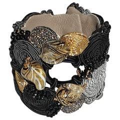 Unique Murano glass beads & fabric costume bracelet by Venetian artist Paola B.
