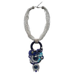Unique Murano glass beads & fabric costume necklace by Venetian artist Paola B.