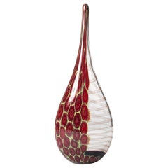 Elegant and tall bottle-shaped Murano glass vase clear glass, dark-red and yello