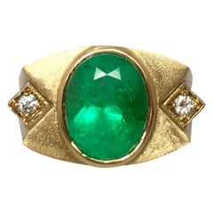 Unique Muzo 5.75 Carat Colombian Emerald & Diamond 18k Gold Certified Mens Ring