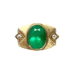 Unique Muzo 5.75 Carat Colombian Emerald & Diamond 18 Karat Gold Certified Ring