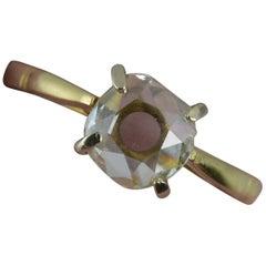 Unique Natural 1.5 Carat Spread Old Cut Diamond 18 Carat Gold Solitaire Ring