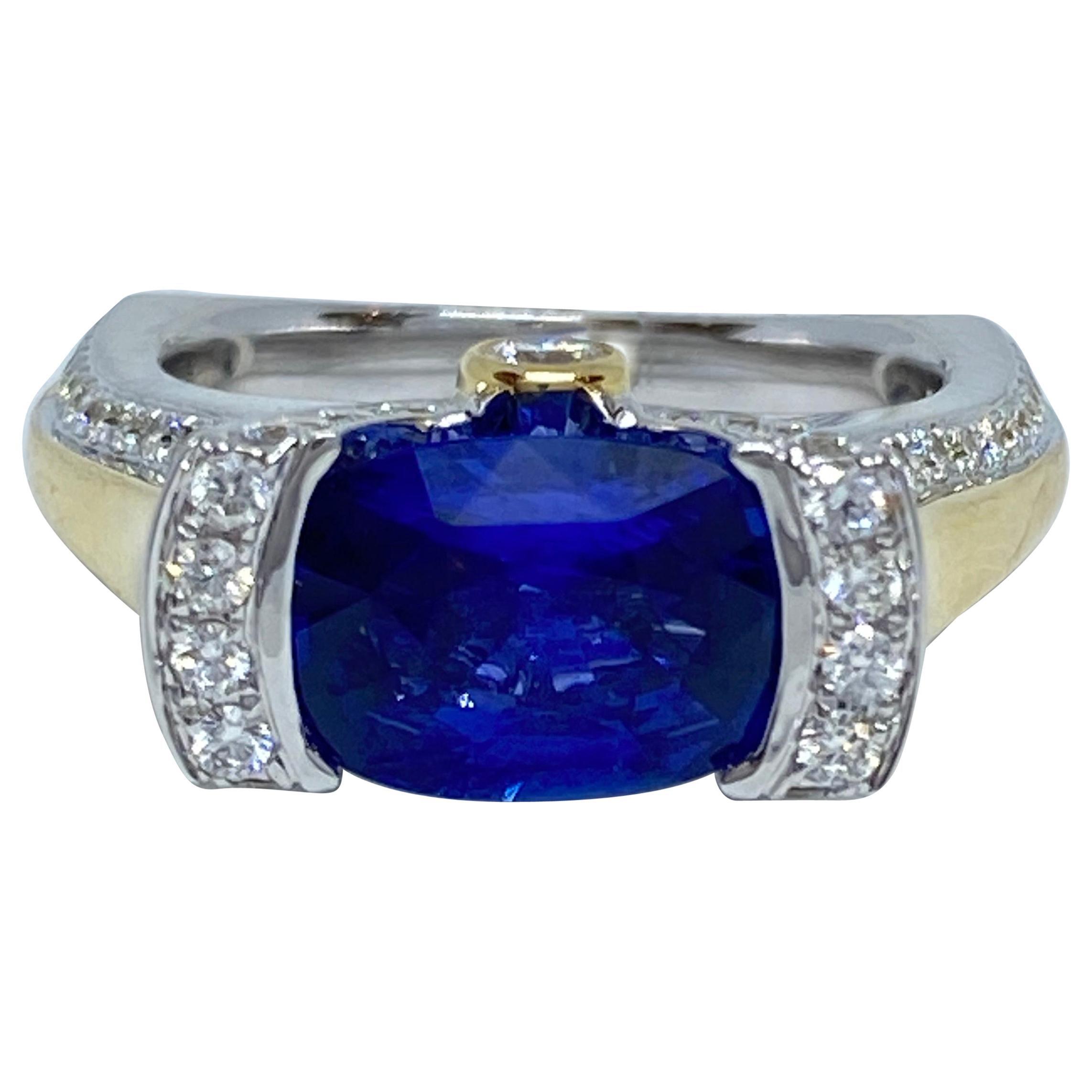 Unique Natural Cushion Cut Ceylon Sapphire and Diamond Ring 3.07 Carat 18K Gold