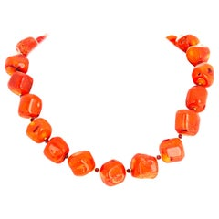 Unique Natural Orange Bamboo Coral Necklace