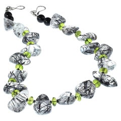 Unique Necklace of Tourmalinated Quartz and Green Peridot