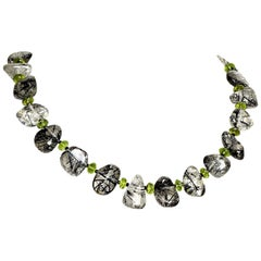 Gemjunky Unique Necklace of Tourmalinated Quartz and Green Peridot