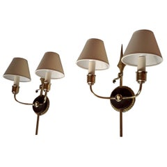 Unique Neoclassical French Revolution Style Double Sconces' 1950s
