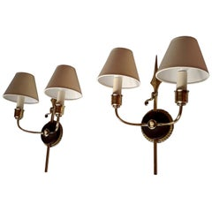 Unique Neoclassical French Revolution Style Double Sconces, 1950s