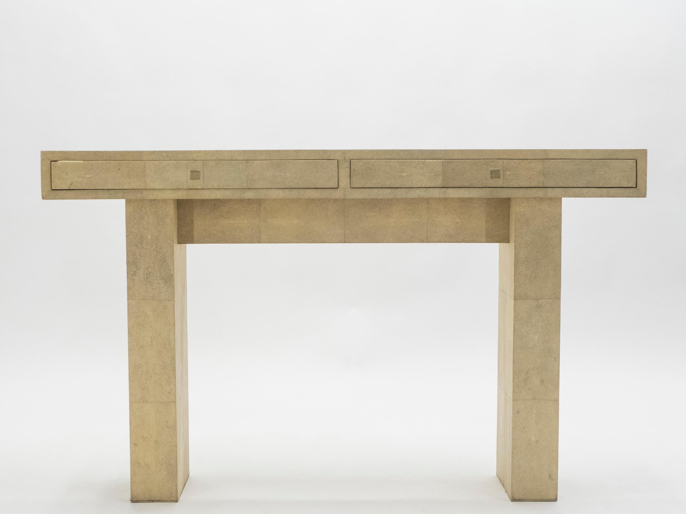Unique Neoclassical French Shagreen Brass Glass Console Table, 1980s