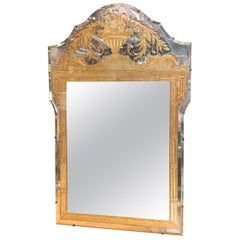 Unique Neoclassical Gilt and Etched Eglomise Mirror