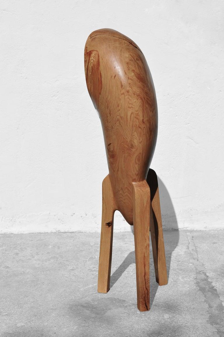 German Unique Oak Sculpture Signed by Jörg Pietschmann For Sale