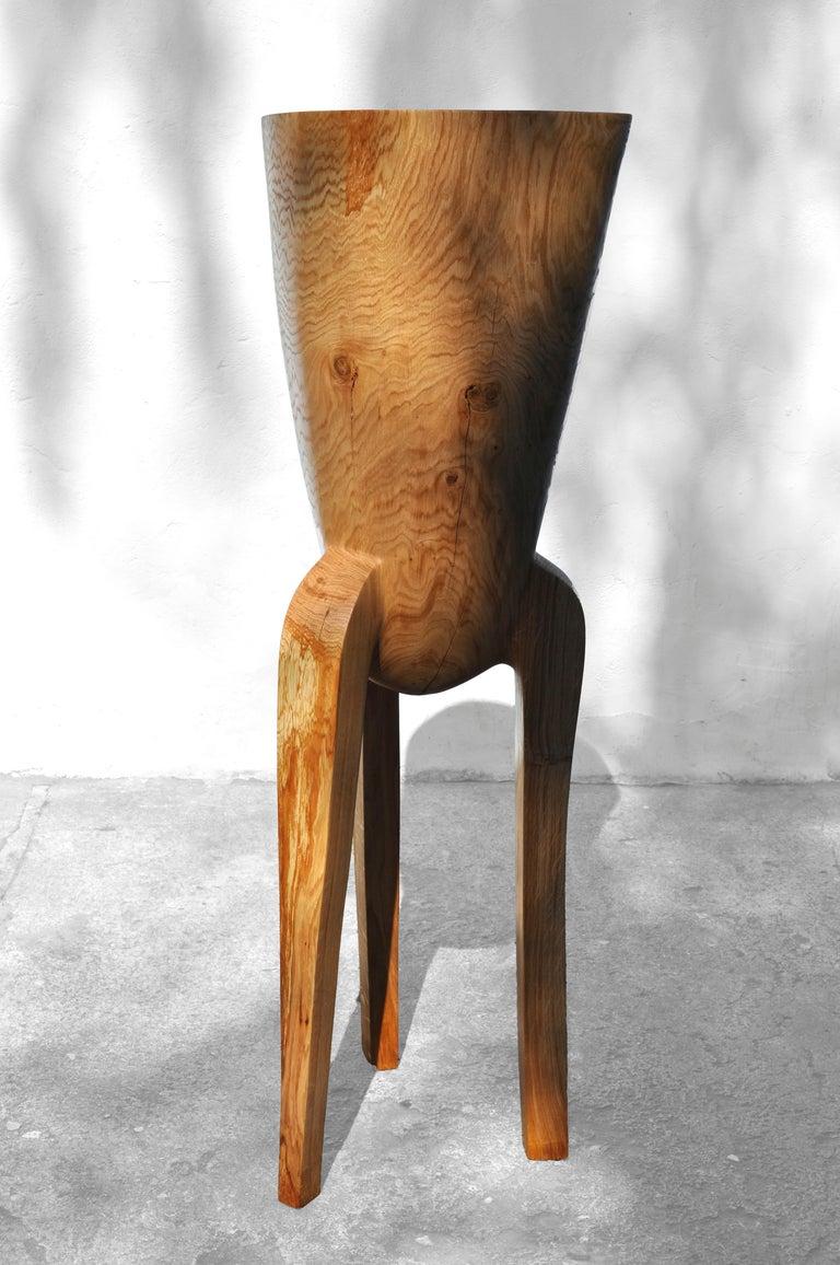 Polished Unique Oak Sculpture Signed by Jörg Pietschmann For Sale