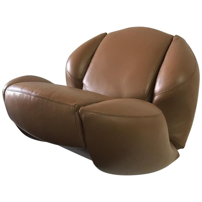 Unique Organic Italian Leather Lounge Chair by Comfortline For Sale