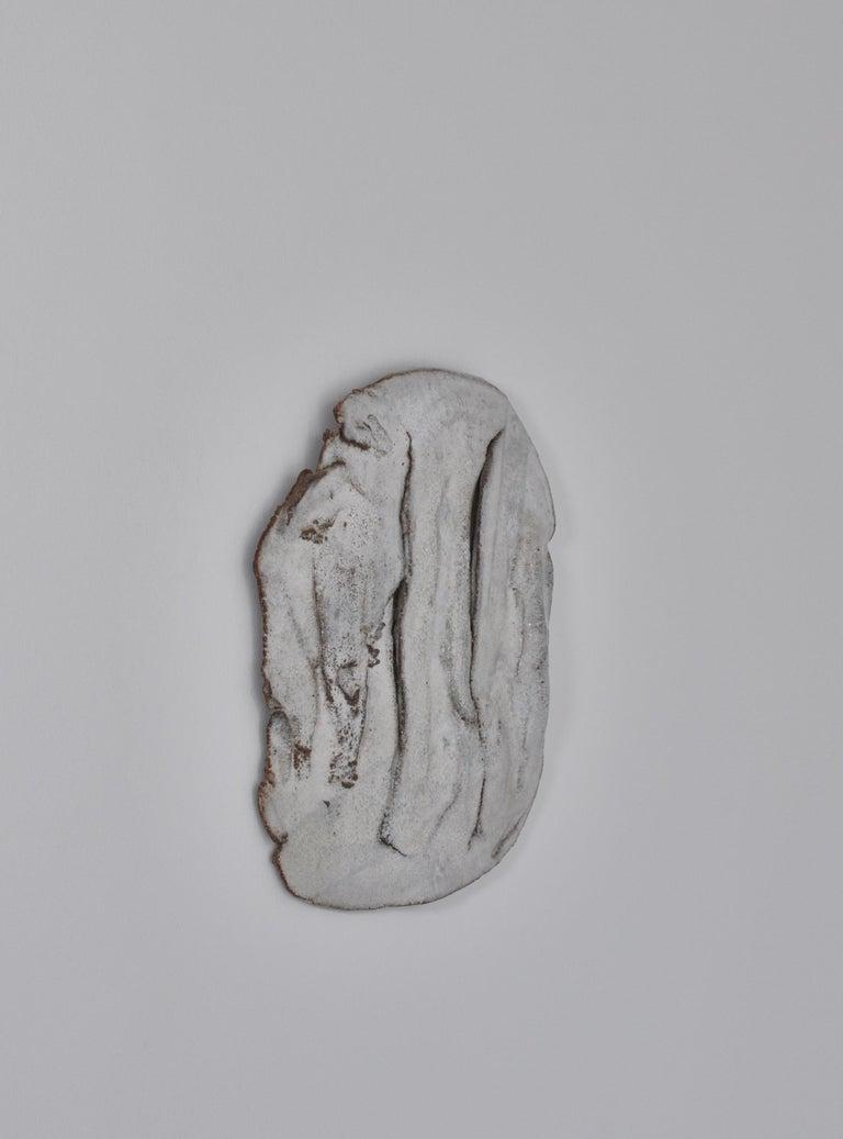 Scandinavian Modern Unique Organic Modern White Stoneware Wall Relief by Ole Bjørn Krüger, 1960s For Sale