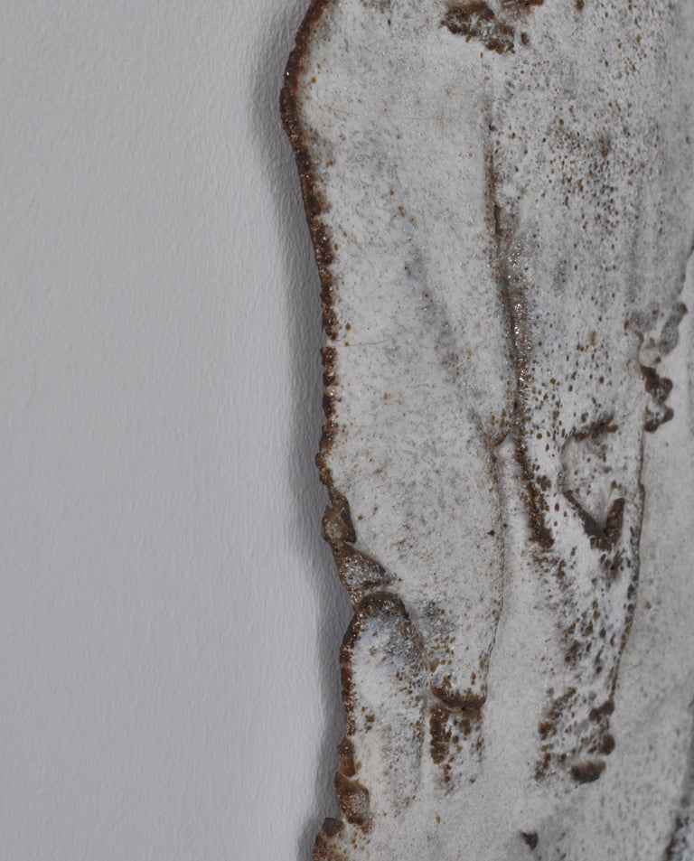 Mid-20th Century Unique Organic Modern White Stoneware Wall Relief by Ole Bjørn Krüger, 1960s For Sale