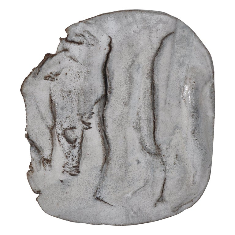 Unique Organic Modern White Stoneware Wall Relief by Ole Bjørn Krüger, 1960s For Sale