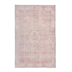 Unique Oushak Rug, Pink, Light Brown and Ivory