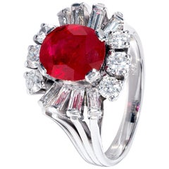 Unique Oval Red Ruby Ring in White Gold with White Diamond Surround