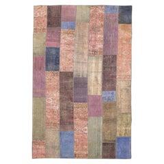 Unique Overdye Persian Antique Patchwork Rug in Various Colors