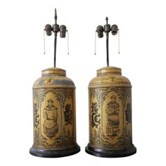 Unique Pair of 19th Century Chinese Tea Caddies Base Lamps
