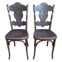 Unique Pair of Bentwood Chairs, Jacob & Josef Kohn with Embossed Female Goddess
