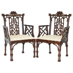 Unique Pair of Chinese Chippendale Tortoiseshell Lacquered Carver Armchairs