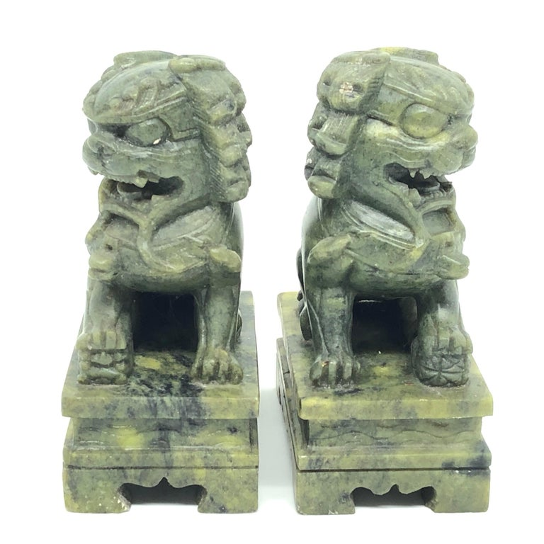 Chinese Unique Pair of Decorative Foo Dogs Temple Lion Bookends Marble Sculptures