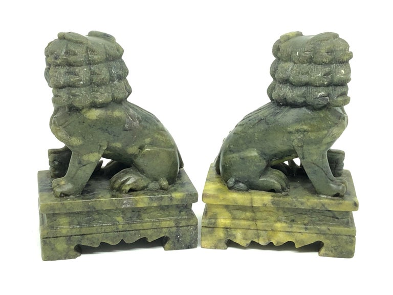 Hand-Carved Unique Pair of Decorative Foo Dogs Temple Lion Bookends Marble Sculptures