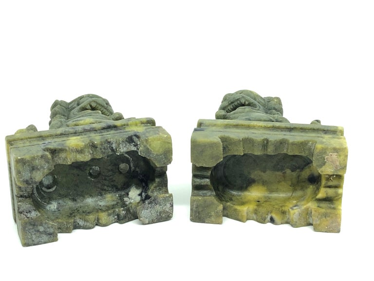 Late 20th Century Unique Pair of Decorative Foo Dogs Temple Lion Bookends Marble Sculptures