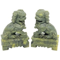 Unique Pair of Decorative Foo Dogs Temple Lion Bookends Marble Sculptures