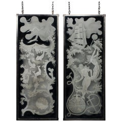 Unique Pair of Etched Glass Panels by Nils Landberg '1907-1991'